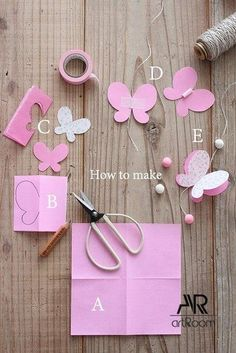 Discover thousands of images about How to Make Easy DIY Paper Butterflies Butterfly Mobile, Butterfly Party, Butterfly Crafts, Butterfly Baby Shower, Butterfly Wall, Flower Crafts, Diy Paper, Paper Crafting, Paper Art