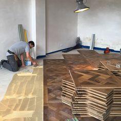 Work in progress on our Oak Landmark Versailles panelled floor, nearly there... http://www.solidfloor.co.uk/roomset/oak_renaissance_panel_dalton_living/?utm_content=buffer80bd3&utm_medium=social&utm_source=pinterest.com&utm_campaign=buffer