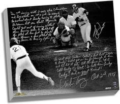 Bucky Dent & Mike Torrez Facsimile '1978 Walk-Off Home Run' Stretched 22x26 Story Canvas