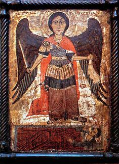 coptic icon of the archangel michael from the church of st mary, haret zuwaila Gabriel, Byzantine Icons, Classic Paintings, Orthodox Icons, Medieval Art, Angel Art, Sacred Art, Religious Art, Ancient Art