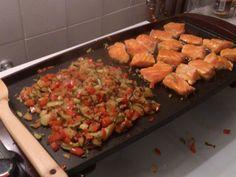 Recette Saumon à la plancha et ses petits légumes