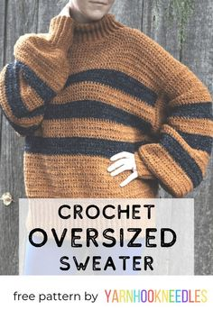 Make This Cozy Calico Crochet Sweater Pattern Over The Weekend! Make This Cozy Calico Crochet Sweater Pattern Over The Weekend!,Knit Accessory Patterns Make this cozy and simple oversized crochet sweater with this free pattern! Pull Crochet, Mode Crochet, Crochet Lion, Chunky Crochet, Basic Crochet Stitches, Knit Crochet, Crochet Sweaters, Crochet Tops, Ravelry Crochet