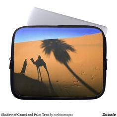 Shadow of Camel and Palm Tree Laptop Sleeve on Zazzle @zazzle #zazzle #laptop #computer #accessories #accessory #buy #shop #sale #photo #photography #blue #orange #camel #desert #nice #travel #cool