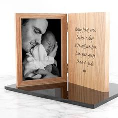 Personalised Hinged Wooden Photo Frame - Any Message Personalised Gifts For Him, Personalised Frames, Daddy Gifts, Fathers Day Gifts, Engraved Photo Frames, Birthday Gift Photo, Photo Engraving, Diy Farmhouse Table, Photo Book