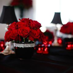 Easy to add bling trim to black (or clear) vases. 12 roses $50.00