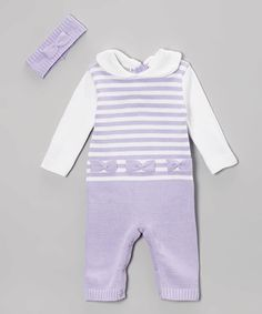 Love this Lilac Stripe Bow Playsuit & Headband - Infant on #zulily! #zulilyfinds
