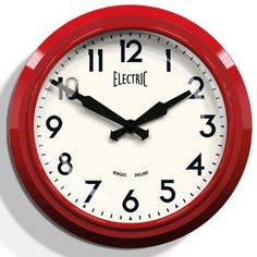 Newgate+50s+Electric+Wall+Clock+-+Red+-+Treat+your+home+to+some+vibrant+50s+style+with+the+Newgate+50s+Electric+Wall+Clock+-+Red!+This+stylish+37cm+diameter+wall+clock+combines+nostalgic+styling+with+a+modern+finish+to+create+a+stunning+timepiece+which+won't+fail+to+catch+the+eye+of+all+your+guests! This+medium-sized+retro+wall+clock+has+a+cream+clock+face+with+black+arabic+numbers,+angular+hands,+and+the+word+'electric'+in+a+retro-style+font,+which+complete+the+distinctive+1950s+look...