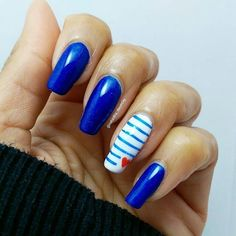 Repost @natasha_dauncey  And here's my solo shot for @frenchie.vernie's birthday collage  We chose to recreate her gorgeous blue Jean Paul Gaultier marine design which is just as well as you know how much I love blue! Hope I did it justice honey those stripes were nearly the end of me!! Do check out #poutoubirthdaylulu to see the rest of the amazing recreations for Lucie!    Details: Bear Pawlish clever boy from @rainbow_c_uk Barry M coconut Red acrylic paint for freehand heart MoYou holy…