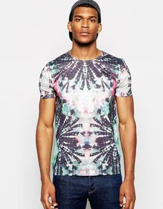ASOS T-Shirt With Bright Tie Dye Print