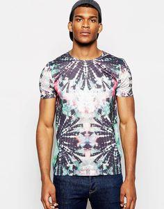 Image 1 ofASOS T-Shirt With Bright Tie Dye Print