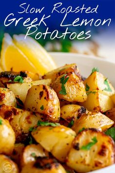 These Authentic Slow Roasted Greek Lemon Potatoes make the perfect side dish to so many meals! Serve them with roast chicken or beef as part of Sunday dinner, or add them to a baked fish or shrimp recipe. The potatoes are cooked in a mixture of broth, ext Potato Sides, Potato Side Dishes, Vegetable Side Dishes, Fish Side Dishes, Side Dish With Fish, Simple Side Dishes, Chicken Side Dishes, Shrimp Side Dish, Cooked Vegetable Recipes