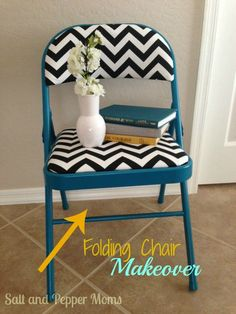 Folding chair makeover with paint and new fabric! Home Decor Designs