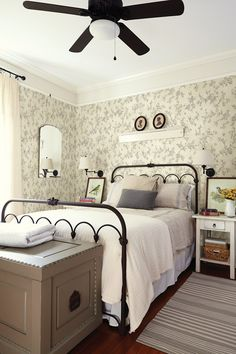 Relaxing French Country Bedroom Design and Decor Ideas that are Full of Charm - Home and Gardens Guest Bedrooms, Interior, Home, Home Bedroom, Ceiling Fan Bedroom, Bedroom Design, Remodel Bedroom, Interior Design, Cottage Bedroom