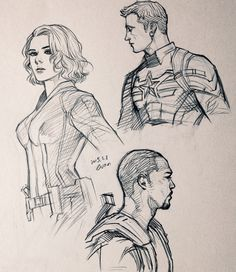 pen Steve, Sam, Natasha fanart by evankart