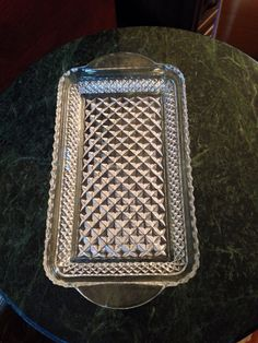 depression Vintage Indiana clear glass diamond point rectangle handled relish dish