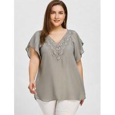 f378d38fc654e Material  Polyester   Shirt Length  Regular   Sleeve Length  Short    Collar  V-Neck   Style  Fashion   Season  Summer   Sleeve Type  Butterfly  Sleeve ...
