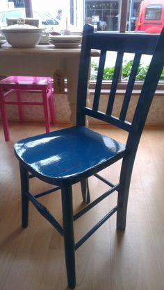 China Blue Glossed Kitchen Chair