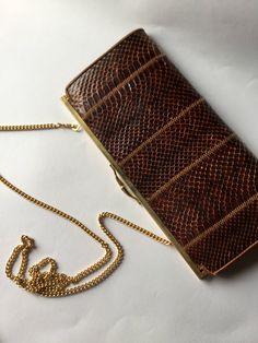 Vintage 1970 brown snake bag, vintage accessories di Quieora su Etsy
