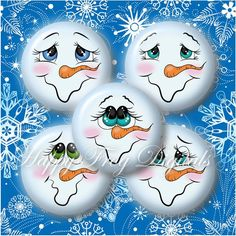 "Snowmen faces - 1.5"", 1"", 30 mm, 25 mm circles - Digital Collage Sheet - 300 HFD - Printable Download - Instant Download"