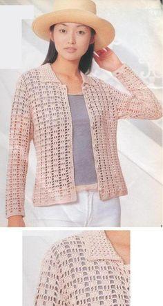 In my travels on the net, I found this beautiful Cardigan. Informations About Nas minhas andanças pela net, encontrei essa. Gilet Crochet, Crochet Coat, Crochet Cardigan Pattern, Crochet Jacket, Crochet Blouse, Cotton Crochet, Crochet Clothes, Crochet Patterns, Summer Wear For Ladies