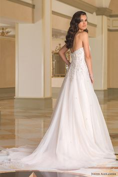 justin alexander bridal fall 2016 strapless sweetheart aline wedding dress (8869) bv train  back of the dress