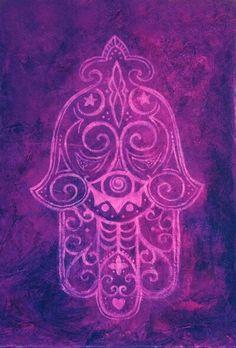 ☮ American Hippie Psychedelic Art ~ Hamsa .. Purple