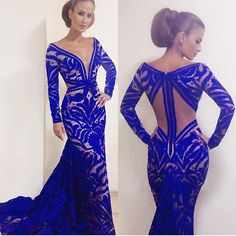 Sexy Evening Dress 2016 New Arrival V Neck Long Sleeves Royal Blue Unique Lace Mermaid Floor Length Prom Dresses Party Dresses Modest Prom Gowns, Evening Dresses Uk, Sexy Evening Dress, Prom Party Dresses, Party Gowns, Elegant Evening Gowns, Formal Dresses, Mermaid Evening Gown, Formal Prom