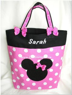 Pink Minnie Mouse Personalized Bag with Matching Hair Bows