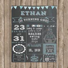 Custom Chalkboard Shabby Chic Bunting Banners Printable Birthday Sign - Girl/Boy First Birthday Poster - Digital Print