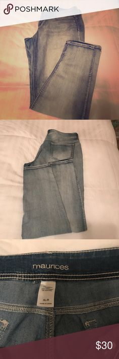 Maurices jegging size xl Light wash jegging, super comfy Size XL/ Regular length (I'm 5'9 and these were perfect)  Great shape, smoke/pet free home Maurices Jeans Skinny