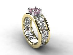 Wide two tone filigree ring with Pink morganite and diamonds on Etsy