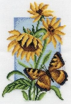 Cross stitch kit featuring flowers and a butterfly. This cross stitch kit contains presorted thread, 14 count white Aida Butterfly Cross Stitch, Cross Stitch Bird, Cross Stitch Flowers, Cross Stitch Charts, Cross Stitching, Cross Stitch Patterns, Cushion Embroidery, Embroidery Kits, Cross Stitch Embroidery