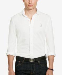 Polo Ralph Lauren Men's Herringbone Knit Dress Shirt - White Herringbone S