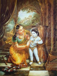 After tying Krishna With Mortar (Ukhal) Yashoda set about doing some household job. Krishna sat down on his knees and caused the mortar to tumble down so that… Hare Krishna, Krishna Lila, Little Krishna, Radha Krishna Love, Radha Rani, Lord Krishna Images, Radha Krishna Images, Krishna Pictures, Yashoda Krishna