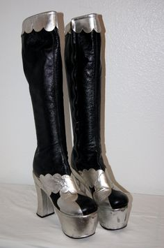 70s Glam Rock Black and Silver Leather Platform by ModVibeVintage, $325.00