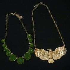 Statement Necklace Green stone necklace with minor scratches & gold chain . Gold tone eagle necklace with gold chain WINDSOR Jewelry Necklaces