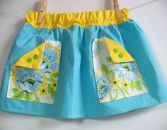 Finders Keepers Skirt PDF Sewing Pattern Sizes baby to 7yrs by OwlyBaby. Vintage inspired large pockets adorn this easy fit skirt.  Perfect for summer with lightweight cottons or with corduroy or denim for the changing seasons. A hit for girls of all ages!  #SewforGirls