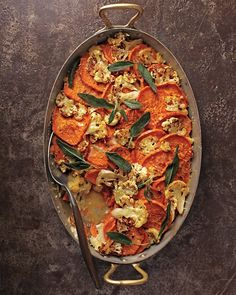 Sweet Potato-Cauliflower Gratin with Crispy Sage Leaves | Whole Living