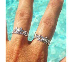 Beautiful personalised silver name ring. Via en.DaWanda.com.