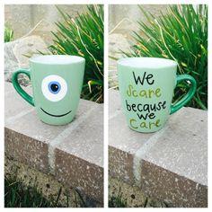 Hand painted Disney Mike Monster's inc. coffee mug on etsy