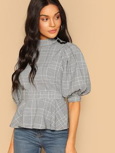 SheIn offers Mock Neck Buttoned Puff Sleeve Plaid Peplum Blouse & more to fit your fashionable needs. Kurta Designs, Blouse Designs, Stylish Dress Designs, Stylish Dresses, Frock Fashion, Fashion Outfits, Sleeves Designs For Dresses, Sleeve Designs, Spring Shirts