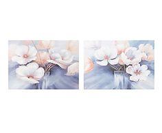 Set de 2 lienzos pintados a mano Flores - 70x100 cm