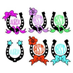 Horse Horseshoe Monogram Round Circle Frame with Bow, Star and Flower Cuttable Design Cut File. Vector, Clipart, Digital Scrapbooking Download, Available in JPEG, PDF, EPS, DXF and SVG. Works with Cricut, Design Space, Sure Cuts A Lot, Make the Cut!, Inkscape, CorelDraw, Adobe Illustrator, Silhouette Cameo, Brother ScanNCut and other compatible software.