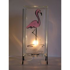 FREE SHIPPING Flamingo lamp glas block lamp upcycled handmade glass... (€69) ❤ liked on Polyvore featuring home, lighting, hand made lamps, flamingo night light, handcrafted lighting, glass block night lights and tropical lamps