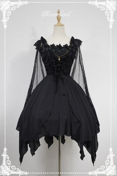 Soufflesong exclusive [dead ballet] gothic irregular skirt removable shawl dress - Taobao global station
