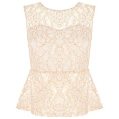 Neon Orange Lace Sheer Peplum Top ($12) ❤ liked on Polyvore