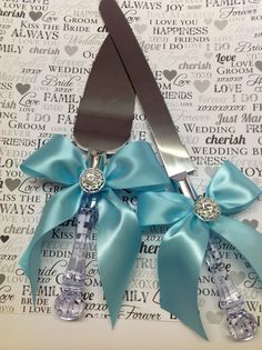 Tiffany Blue Wedding Cake Knife Set by AVAandCOMPANY on Etsy, $24.99