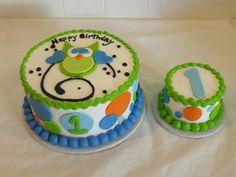 Boy Owl 1st Birthday Cake