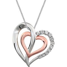 Heart in Heart two-tone rose gold pendant