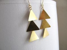 Triple triangle dangle earrings on 14k gold by MySoCalledVintage, $24.00